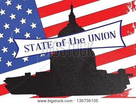 Washingto icon with starts and stripes background with the legend State of the Union