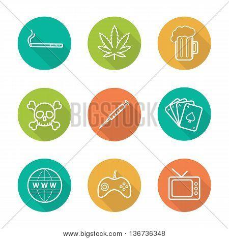 Addictions flat linear long shadow icons set. Smoking alcohol drugs games internet tv gambling signs. Cigarette marijuana leaf beer skull joystick syringe. Bad habits vector line symbols