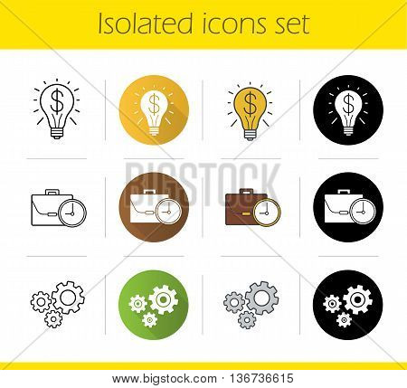 Business concepts icons set. Flat design linear black and color styles. Successful idea and work time symbols cogwheels. Isolated vector illustrations