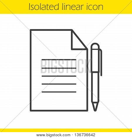 Contract linear icon. Business paper with pen. Agreement thin line illustration. Official document contour symbol. Vector isolated outline drawing