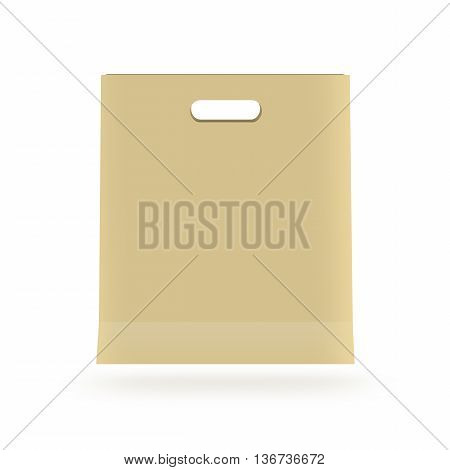 Blank paper bag mock up isolated. Yellow clear magazine packet mockup ready for logo design presentation. Bundle supermarket template. Empty shopping brown bag concept. Clean pack store layout.