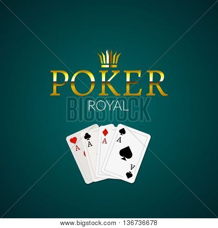 Poker casino poster logo template design. Royal golden poker room design template.