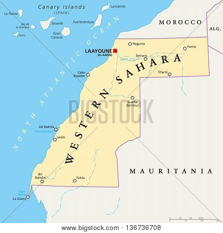 Western Sahara political map with capital Laayoune, national borders, important places and rivers. A disputed territory in the Maghreb region of North Africa. Illustration with English labeling. Vector