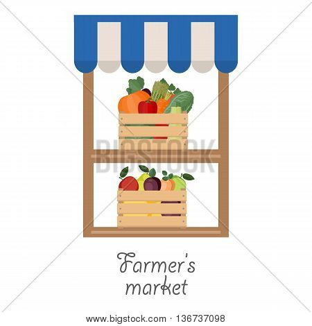 Vector illustration of farmer's market. Fruit and vegetables in wooden boxes.