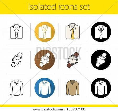 Men's accessories and clothes icons set. Flat design linear black and color styles. Shirt and tie wristwatch and pullover isolated vector illustrations