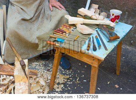 The joiner tools on the table background