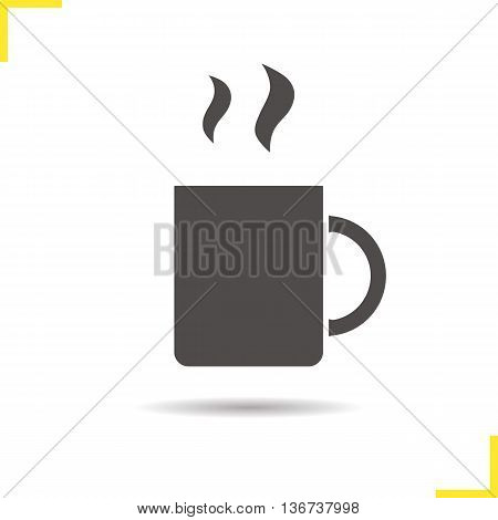Steaming cup icon. Drop shadow silhouette symbol. Hot mug vector isolated illustration