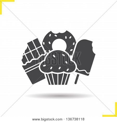 Confectionery icon. Negative space. Drop shadow silhouette symbol. Chocolate bar muffin with raisins ice cream and bitten doughnut. Vector isolated illustration