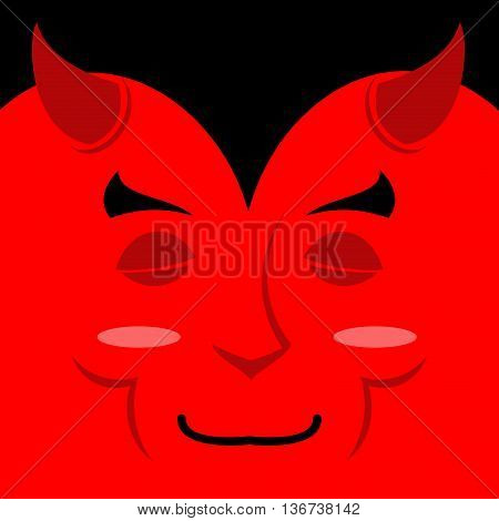 Sleeping Demon With Big Smile. Cartoon Cute Face. Gaiety Emotion. Cheerful Devil. Holiday Satan. Sou