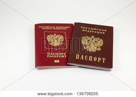Russian passport and a passport on a white background