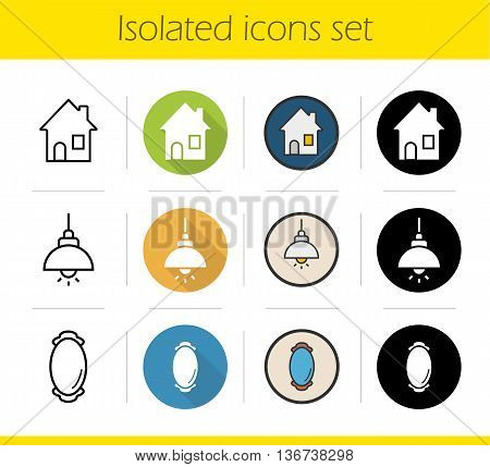 Household items icons set. Flat design linear black and color styles. House ceiling lamp and framed wall mirror. Isolated vector illustrations