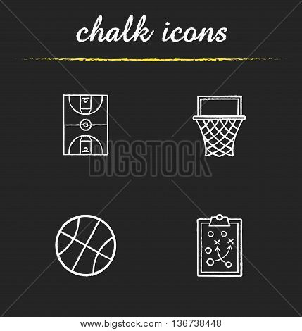 Basketball icons set. Basketball hoop ball and field clipboard game plan illustrations. Isolated vector chalkboard drawings