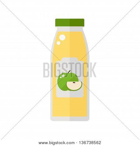Juice icon. Bottle of juice apple isolated icon on white background. Apple juice icon. Flat style vector illustration.