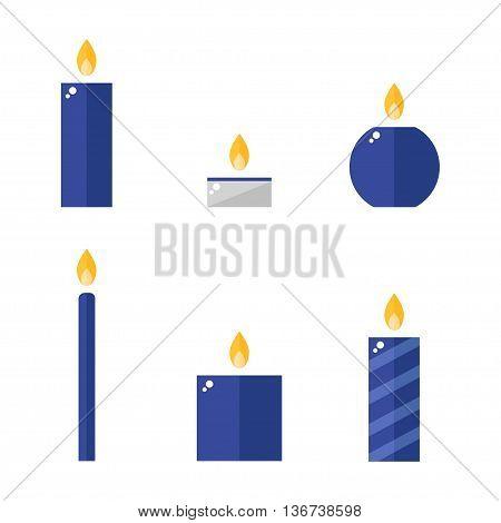 Candle icons set. Isolated candle icons on white background. Flat style vector illustration.