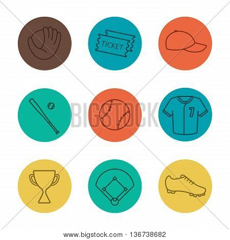 Baseball equipment linear icons set. Softball tickets cap trophy bat ball shirt shoe field mitt. Thin line on color circles. Vector illustrations