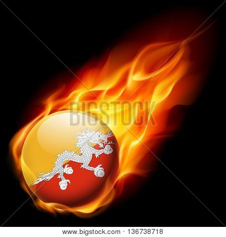 Flag of Bhutan as round glossy icon burning in flame