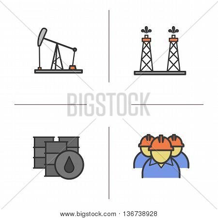 Oil industry color icons set. Oil pumpjack drilling rig barrels and industry workers. Vector isolated illustrations