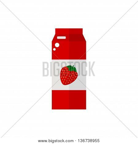 Pack of juice. Strawberry pack of juice icon isolated on white background. Fresh strawberry juice. Flat style vector illustration.