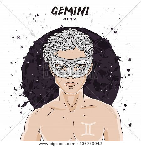 Portrait of a handsome young man. Astrological horoscope sign of Gemini. The boy with a mask on his head. Vector illustration on white background. Concept zodiac sign. Great gift card.