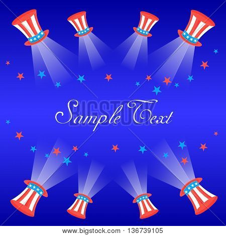 Flyer Card with US flag Cylinder Hats Star Light Beams and Space for Text. Vector. EPS10