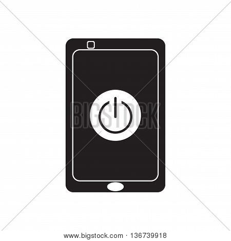 Flat icon in black and  white mobile phone switched off
