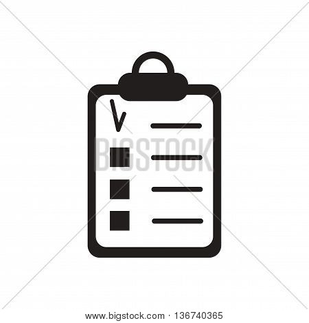 Flat icon in black and  white questionnaire