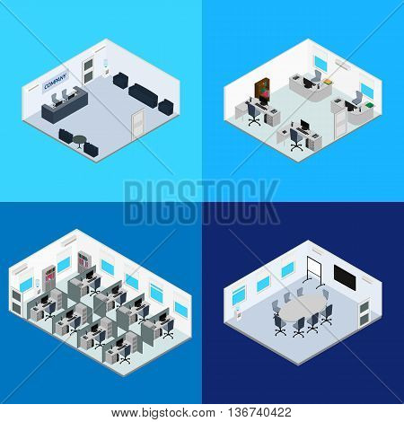 vector illustration. The interior of the office - reception conference room open office space room managers. Isometric infographics 3D