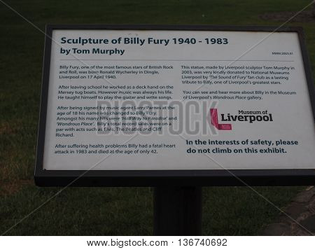Billy Fury Sculpture In Liverpool