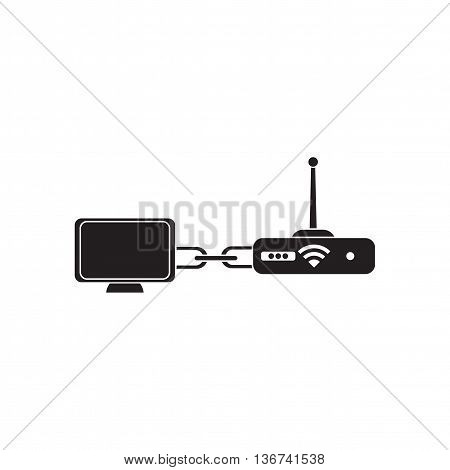 Flat icon in black and  white Wi fi modem computer