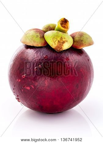 Mangosteens Queen Of Thai Fruits. Ripe Mangosteen Fruits Isolated On White Background.