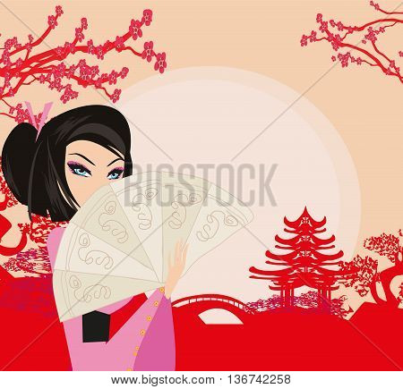 abstract landscape with Asian girl , vector illustration