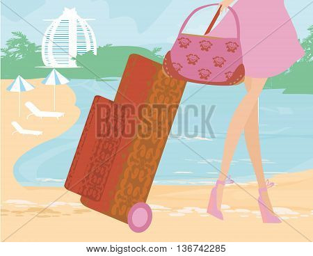 woman legs and baggage on the beach on tropical vacation , vector illustration