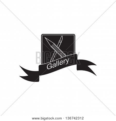Flat icon in black and  white mobile gallery