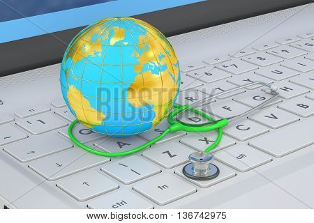 Stethoscope and Globe on laptop keyboard 3D rendering