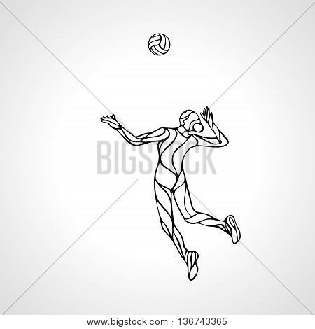 Volleyball player serving the ball - black and white vector outline silhouette. Modern simple volleyball logo. Eps 8
