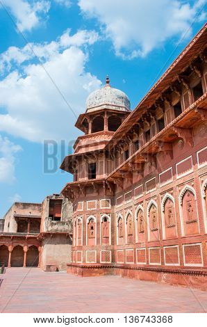 Red Fort in Agra in Uttar Pradesh India. UNESCO World Heritage