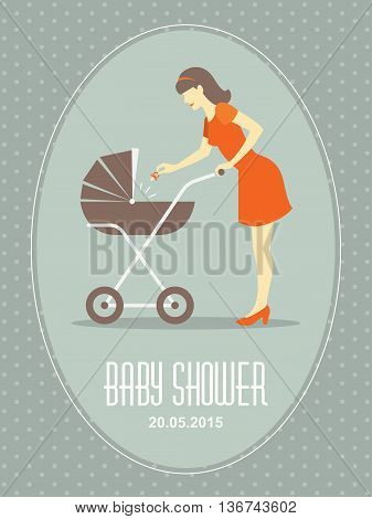 Retro card with mother and baby carriage for baby shower or first year birthday
