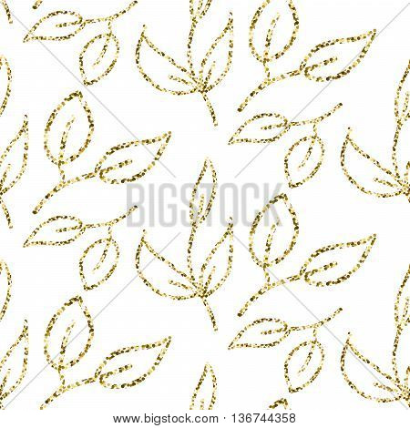 Gold glitter foliage seamless pattern. Shimmer leaves texture white background for gift wrap paper and wallpaper.