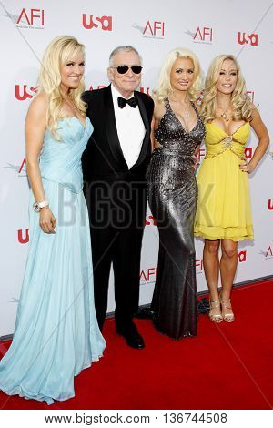 Hugh Hefner and Girls Next Door Bridget Marquardt, Holly Madison and Kendra Wilkinson at the 36th AFI Life Achievement Award held at the Kodak Theater in Hollywood, USA on June 12, 2008.