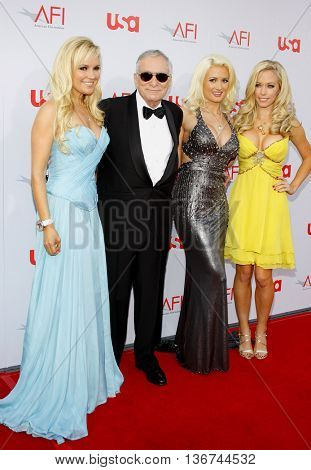 Hugh Hefner arrives with Girls Next Door Kendra Wilkinson, Holly Madison and Bridget Marquardt at the 36th AFI Life Achievement Award held at the Kodak Theater in Hollywood, USA on June 12, 2008.