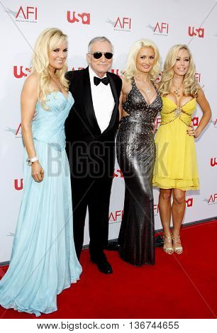 Hugh Hefner, Bridget Marquardt, Holly Madison and Kendra Wilkinson at the 36th AFI Life Achievement Award held at the Kodak Theater in Hollywood, USA on June 12, 2008.