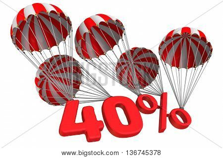Forty percent is falling down on parachute. Isolated. 3D Illustration