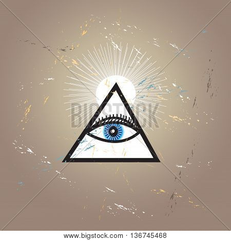 All-seeing eye. Masonic emblem logo on a brown background.