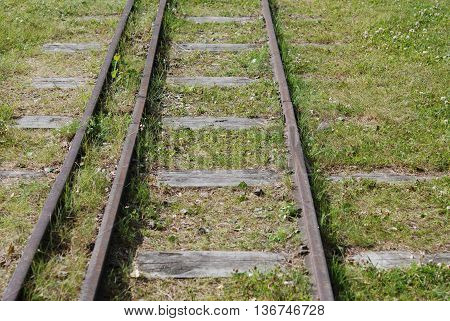 Historic locomotive rails, former industrial rails in Sweden