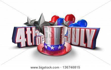 independence day United States 3d illustration. Fourth of july 3D rendering. USA hat and 4 of July title, Uncle sam hat