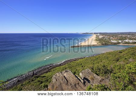 View from Tumgun Lookout overlooking Tallebudgera Creek, Palm Beach and the southern Gold Coast, Australia