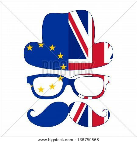 Brexit concept. British invisible man with two flags - EU and UK. Vector.
