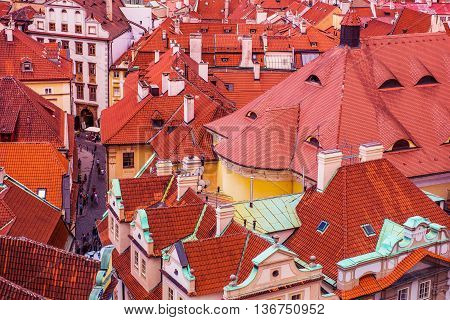 Prague Czechia Architecture. Old Town Buildings Roofs From Bird View. Prague Czech Republic Europe.