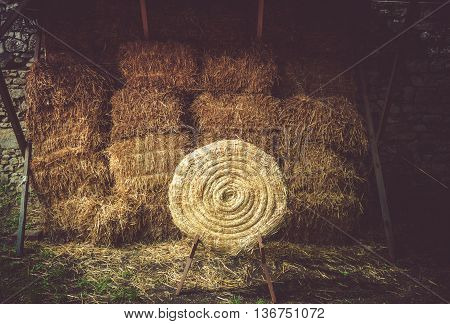 Straw Hay Archery Target For Archery Practicing.