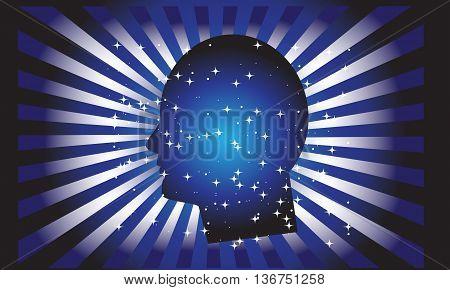 Idea head vector.Abstract human head illustration.Mind power